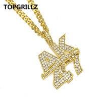 TOPGRILLZ AK47 Submachine Gun Alphabet Pendant Hip Hop Street Dancing Pendant Necklace