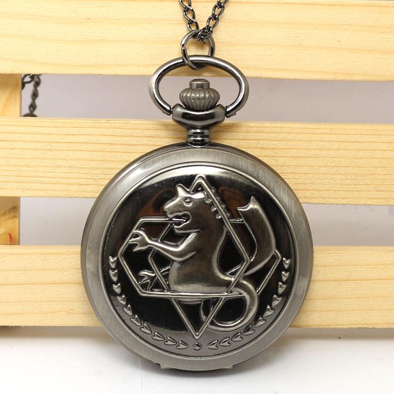 Hot Japanese Animation Fullmetal Alchemist Theme Black Smooth Quartz Pendant Pocket Watch With Necklace Chain For Children Kids