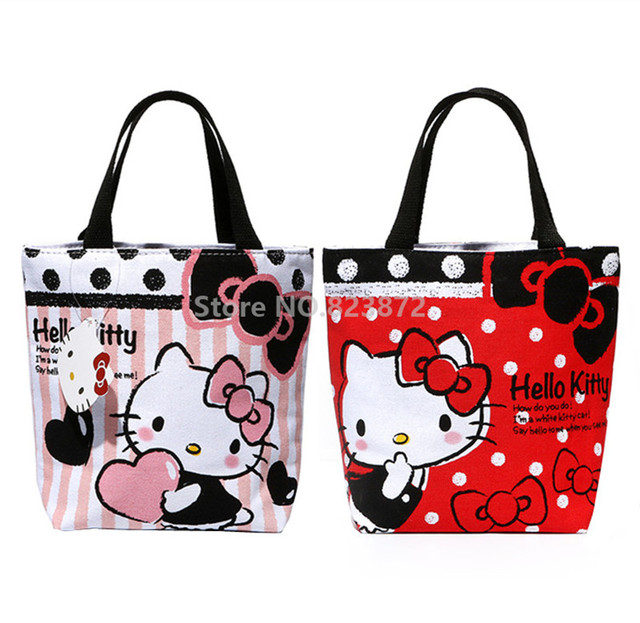Kawaii Cute O Kitty Canvas Lunch Bag For S Women Small Tote Box Bags Zipper