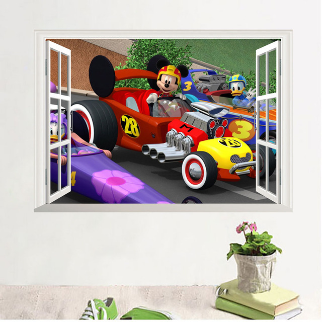 Kids Bedroom Wall Decoration Mickey Mouse Wall Stickers Living Room Mural  Cute Cartoon Wall Decals Children Gift Perfect Quality