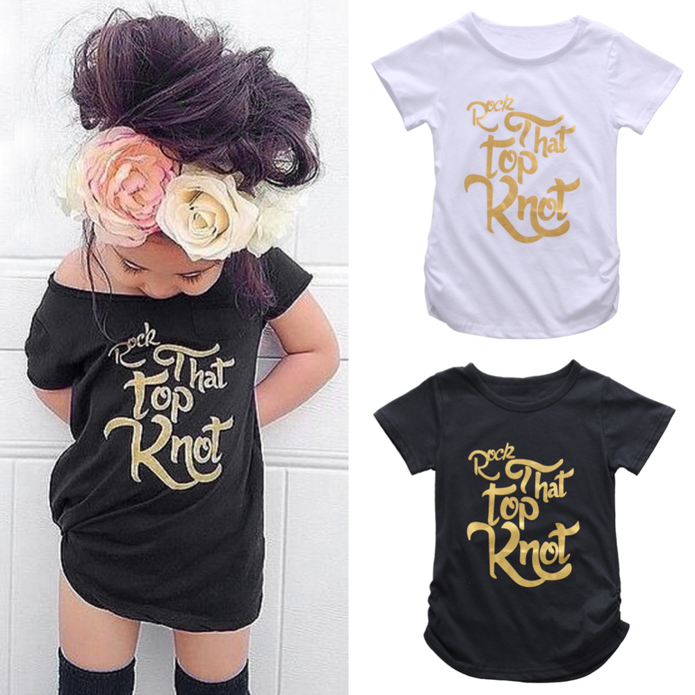 Black t shirt for toddler - New Summer 2 7t Fashion Design Baby Kids Girls T Shirts Letter Printing Short Sleeve