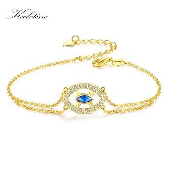 ea2ef360eb5e Pulseras de plata de ley 925 para las mujeres de buena suerte encanto del  ojo malvado pulsera hombres azul CZ joyas de oro amarillo mis órdenes  aliexpress