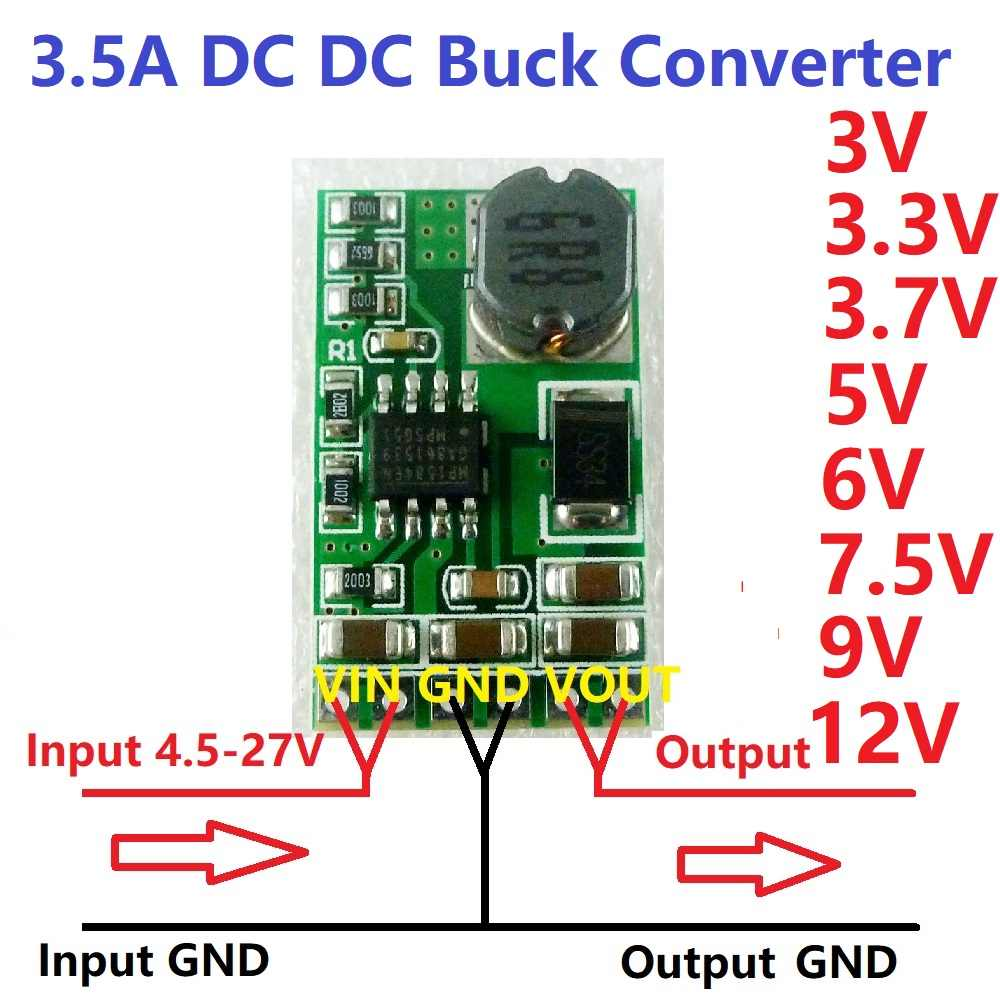 3.5A DC-DC Converter Module Buck Step-Down Voltage Regulator Boord 4.5V-27V Naar 3V 3.3V 3.7V 5V 6V 7.5 9V 12V