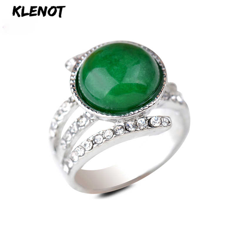 New Green Jasper Silver Ring Antique Indian Agate Setting Surround Austria Crystal Vintage Men Gift Finger Rings for Women