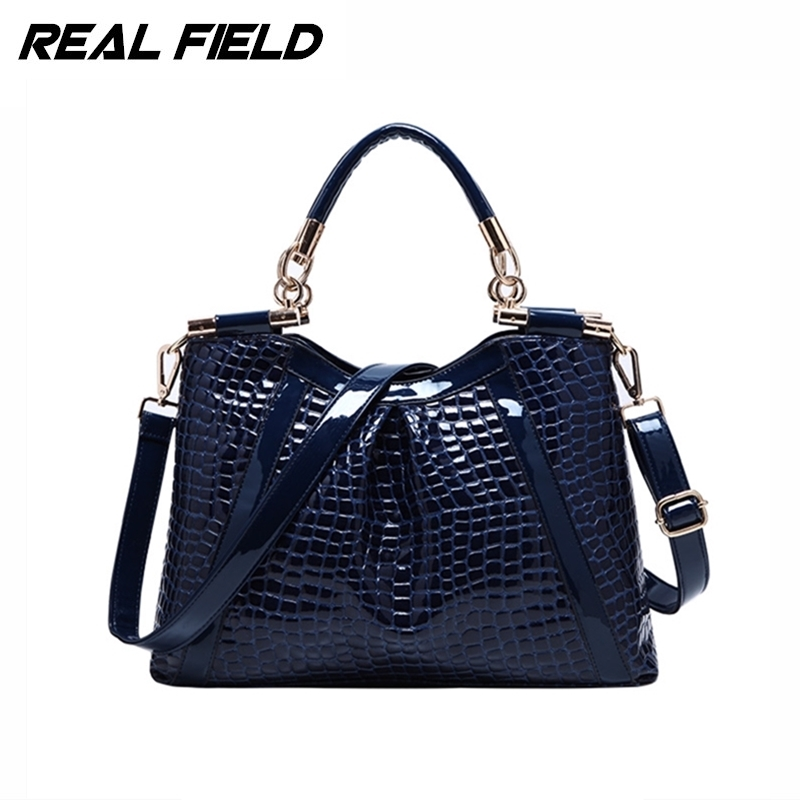 Real Field RF Brand Alligator Leather Women Tote Handbag Bolsas Fashion Hobos Shoulder Messenger Bag Ladies  Femininas Sac 188 luxury patent leather women s totes stone pattern ladies shoulder bags brand girl tote chain messenger bag bolsas femininas ht50