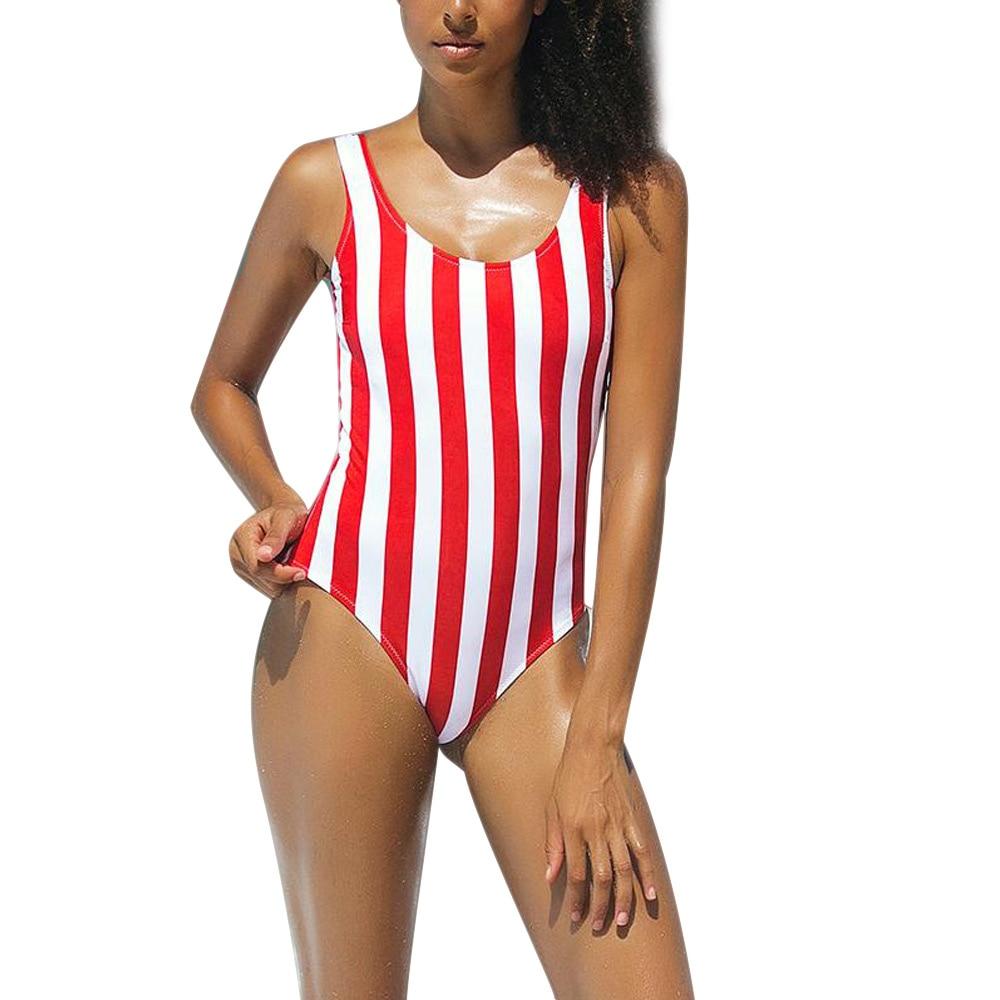 Women Monokini One Piece Swimsuit Red Striped Swimwear Padded Swimsuit BB55