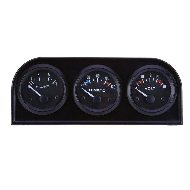 Universal 52mm Triplo kit Voltímetro Medidor de Temperatura Da Água Sensor de Pressão de Óleo 3 em 1 Carro Auto Carro Medidor de Precisão