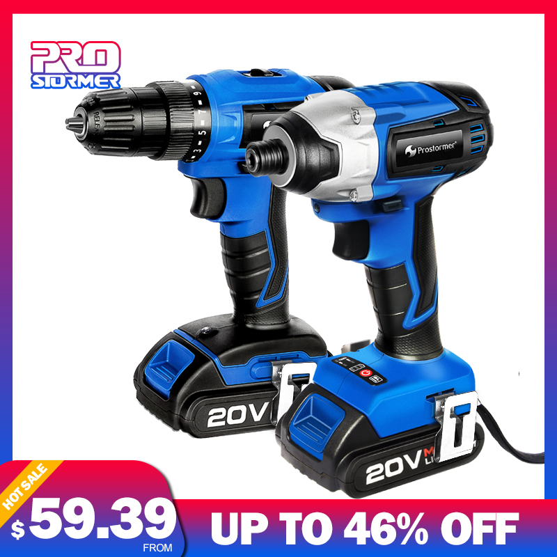 PROSTORMER 20V Combo Electric Impact Drill Cordless Screwdriver Optional Set Combo 2000mAh Wireless Rechargeable Screwdriver