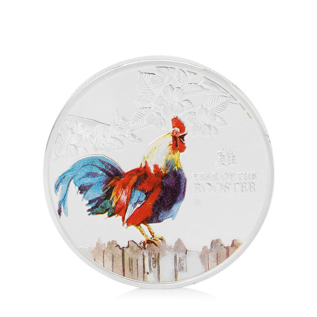 2018 Coins Christmas Gift Silver Plated Zodiac Chicken Logo Commemorative Coin Collection Rooster Year Collectible Gifts New