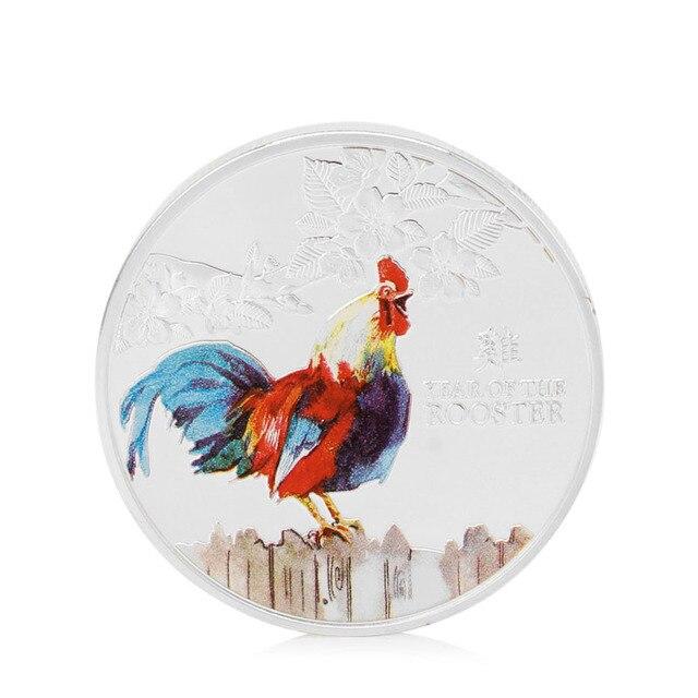 2018 monedas regalo de Navidad Chapado en plata Zodiaco pollo Logo conmemorativo colección de monedas Gallo año coleccionable regalos nuevo