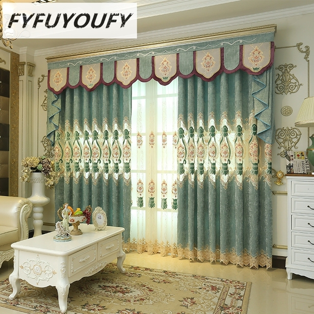 FYFUYOUFY Upmarket Curtains For Living Room Embroidered Tulle And Curtain  For Bedroom Soft Blackout Curtains For