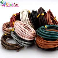 OlingArt 4MM 2M Cordón de cuero genuino redondo/alambre DIY marrón negro cordones mujer pendientes pulsera gargantilla collar fabricación de joyas