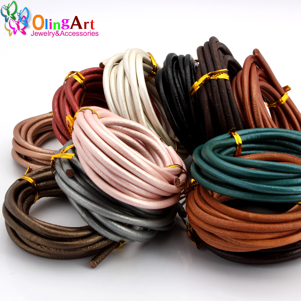 OlingArt 4MM 2M Round Genuine Leather Cord/Wire DIY Brown Black Cords Women Earrings Bracelet Choker Necklace Jewelry Making
