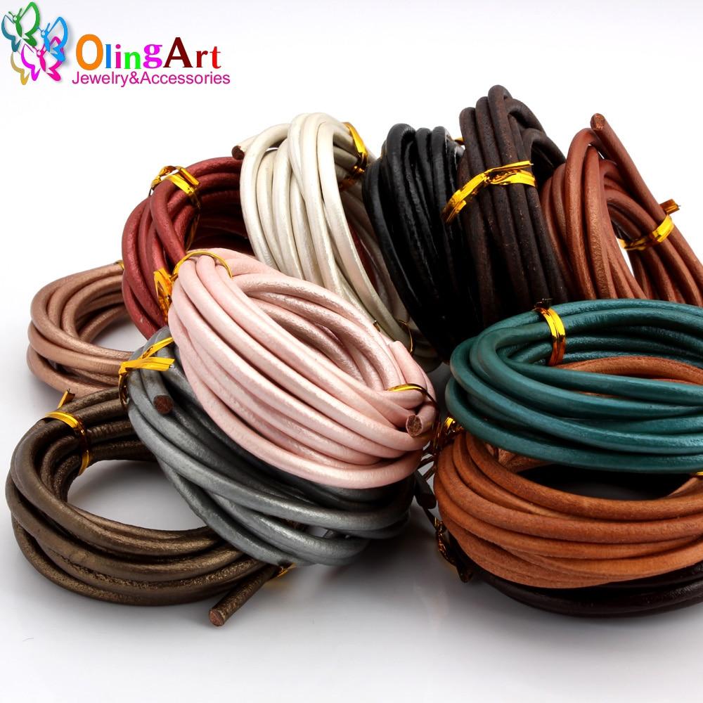 OlingArt 4MM 2M Round Genuine Leather Cord/Wire DIY brown black Cords women earrings Bracelet choker necklace jewelry making genuine leather unisex wristband bracelet w 4pcs hemp cords brown 5 pcs