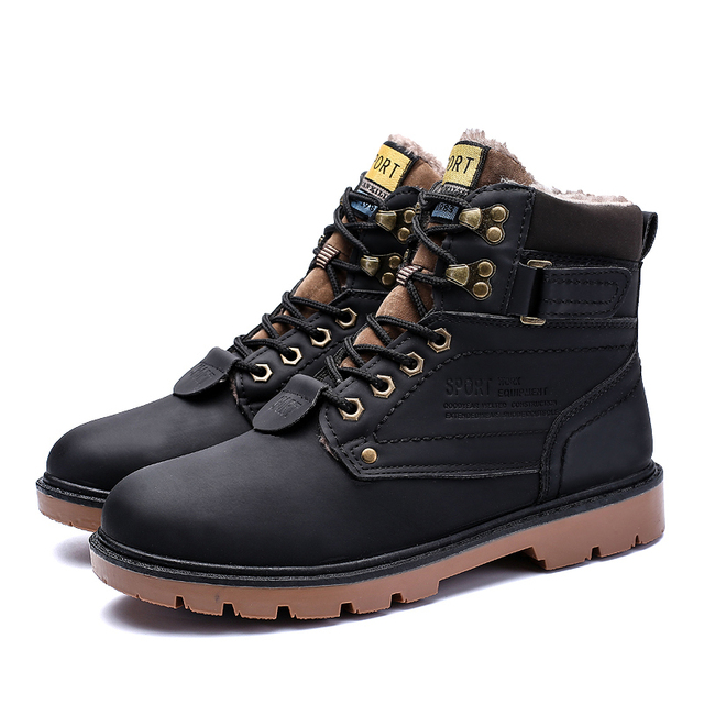 JKPUDUN Winter Work Tooling Mens Boots Autumn Leather Military Ankle Boots Men Casual Shoes Outdoor Waterproof Army Boots Botas