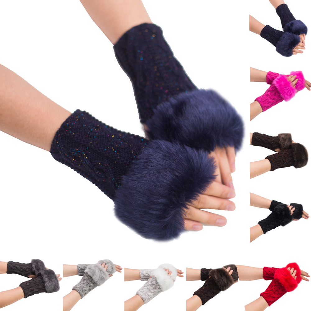 2019 #  Women Girl Warm Winter Faux Rabbit Fur Wrist Fingerless Gloves Mittens
