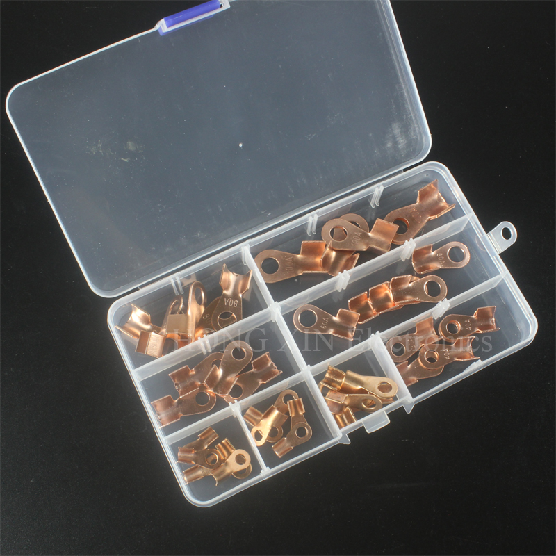 40pcs Open Cable Connector Ring Lug Car Open End Copper Crimp Ring Terminals Connector Spade Electrical Wire open lugs open cable connector ring lug copper passing through terminals ot 200a 250a 300a 400a 500a 600a 800a 1000a