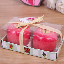 4Pcs Merry Christmas Eve Red Apple Orange Shape Fruit Scented Candle  for Wedding Party Home Decor Candles Greet Gift red eve