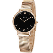 BINZI Quartz Stainless Stell Watch Women Rose Gold Ladies Watch Waterproof Ultrathin Women Watches Relogio Feminino