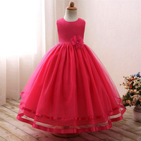 Kids Girls Flower Formal Party Dress Tulle Long Ball Gown Prom Princess Birthday Wedding Frocks Dress
