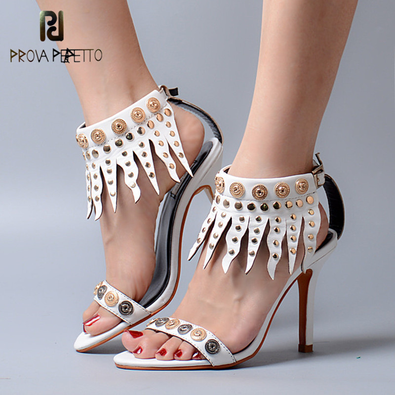 Prova Perfetto 2018 Thin and High Heel All-match Sandals Rome Style with Tassels Peep Toe Cow Leather Solid Color 2018 New Shoes prova perfetto 2018 summer new style comfort woman sandals all match real leather thick heel butterfly knot fashion sandals
