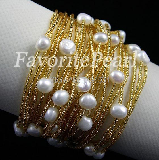 Wedding Pearl Jewelry – Free Shipping – 7.5-8.2 Inches 7-8mm 26 Strand AA White Color Natural Freshwater Pearl Bracelet