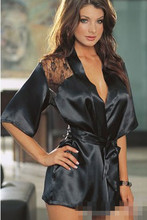 2017 Hot Sell 1PCS Sexy Lingerie  Satin Lace Back Kimono Robe Sexy Night Gown Women's Sexy Erotic Underwear Intimate Sleepwear