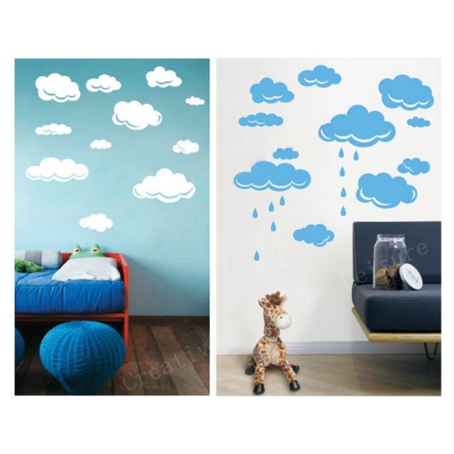 free shipping rain drops clouds vinyl wall decal stickers for kids