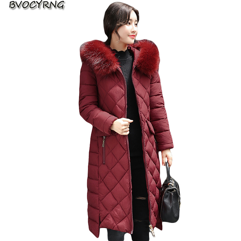 2017New Cotton-padded jacke Women Winter Outerwear Fashion Hooded Thick Down Cotton Parka Female Plus Size Long Coat Q911 women winter jackets down cotton knee x long star coat female hooded thicken padded outerwear lady down parka plus size lq088