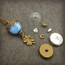 50sets/lot 15mm half of glass globe with base set vial pendant fashion necklace
