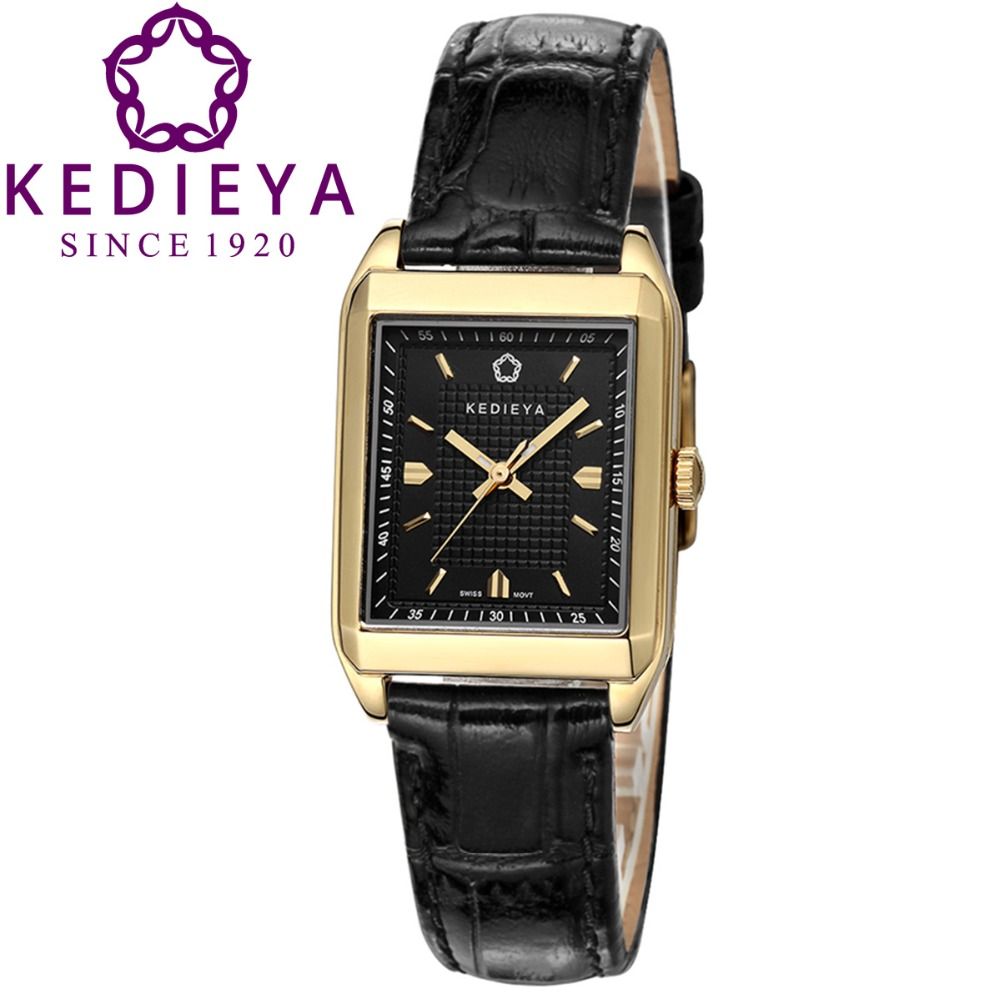 KEDIEYA Vintage Gold Plated Switzerland Ronda Quartz Watch Rectangle Genuine Leather Waterproof Womens Dress Watches