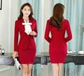 Novidade Vermelho Fino Moda Ternos Formais Saia Para O Office Ladies Professional Primavera Outono Com Jaquetas E Blazers Saia Outfits