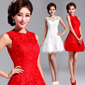2017 New Red white Bride Dress for Wedding Lace Married Bridesmaid one-piece dress Bridal Short Mini Party Dresses Ball Gown