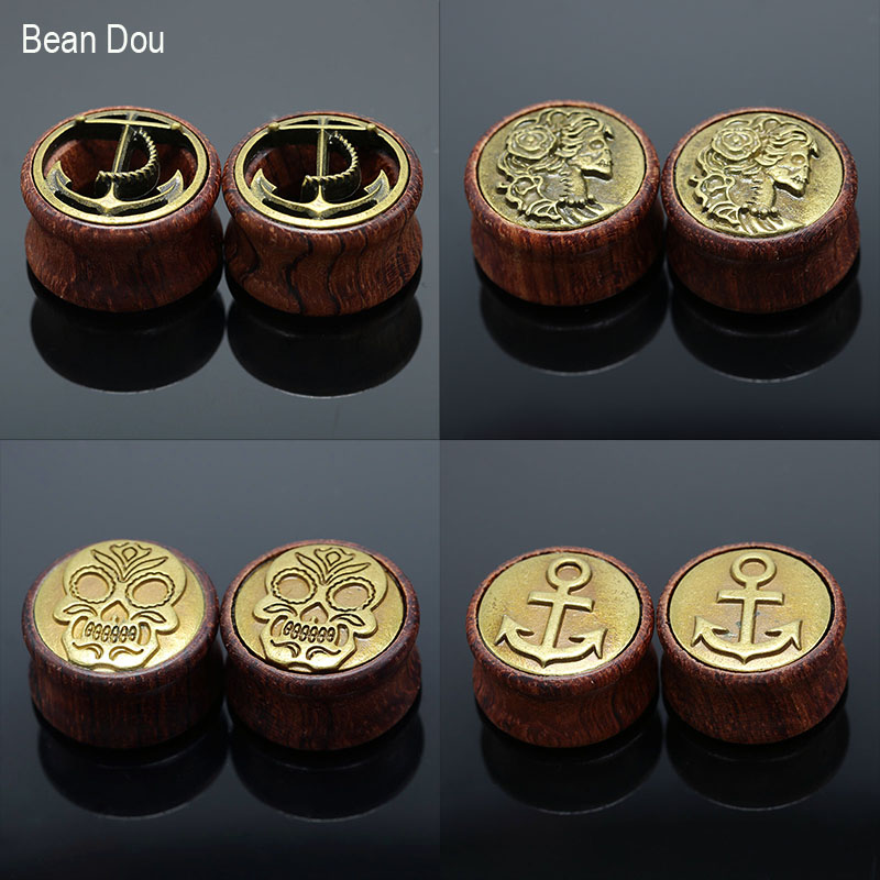 1Pair Brown Natural Wood Saddle Ear Plugs Hollow Piercing Fresh Tunnels  JE