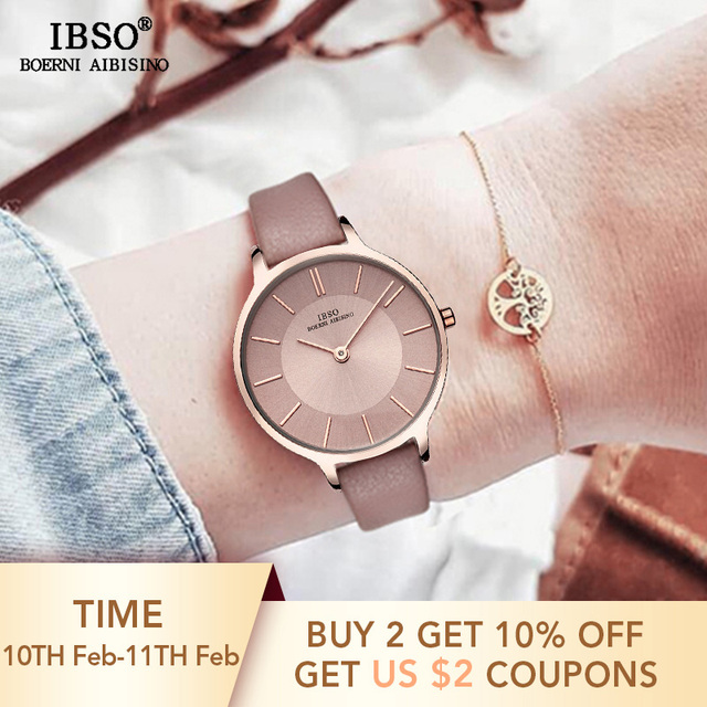 IBSO Brand 8 MM Ultra-Thin Quartz Watch Women Genuine Leather Women Watches 2018