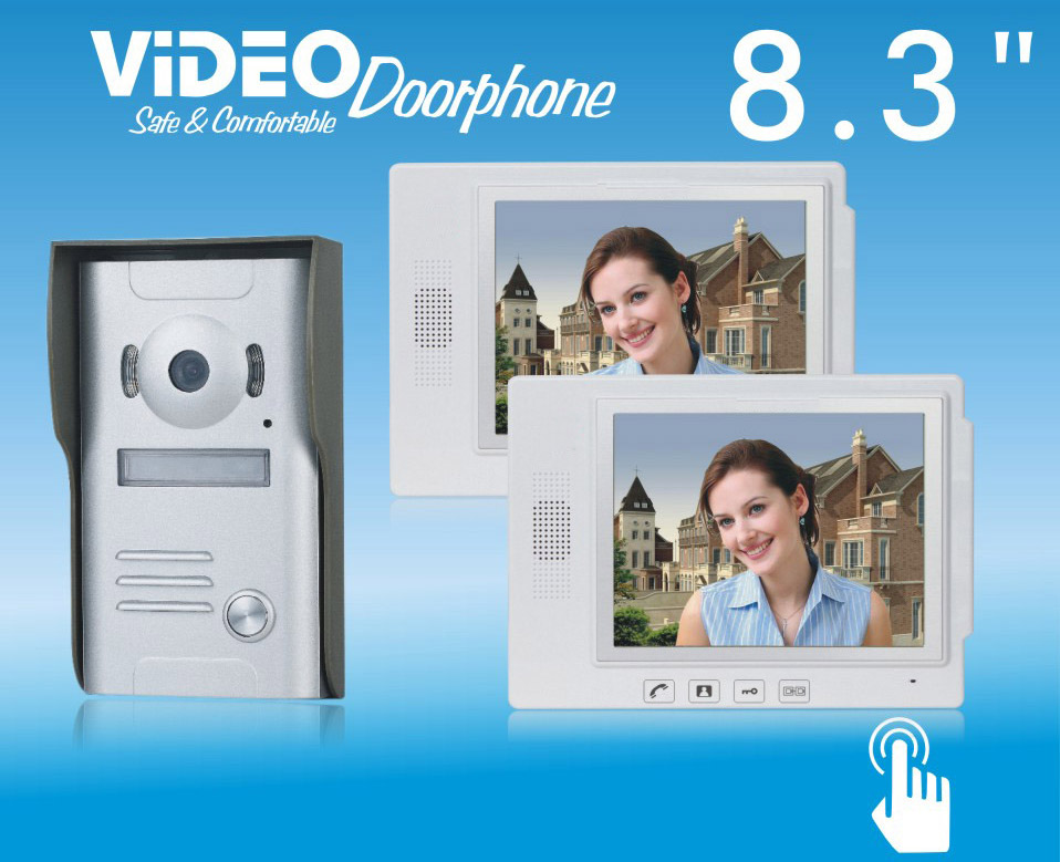 ZHUDELE Home security intercom system doorbell 8.3 video door phone ,waterproof explosion-proof 700TVLine HD IR camera 1 V 2