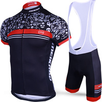 Original Meikroo Skull Cyclist Red Bib Short Sleeve Cycling Jersey Sets Summer Breathable Quick Bike Ciclismo