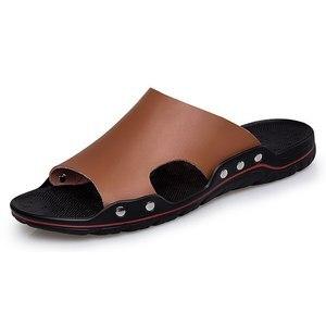 Image 2 - 남성 슬립 온 가죽 슬리퍼 슬라이드 캐주얼 샌들 플러스 사이즈 38 48 솔리드 컬러 간결한 디자인 남성 여름 해변 신발