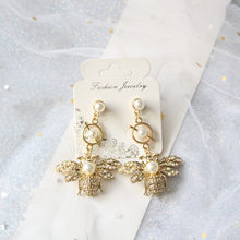 New Fashion Style High Quality hyperbole Hot Design Honey Bee Imitation Pearl Earrings Golden Women Fashion Luxury Jewelry(China)