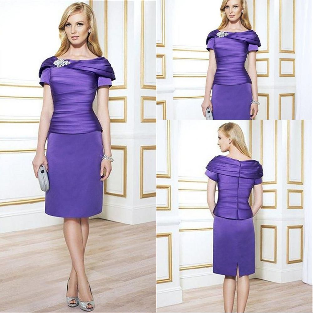 New elegant purple satin plus size mother of the bride for Purple dresses for weddings knee length