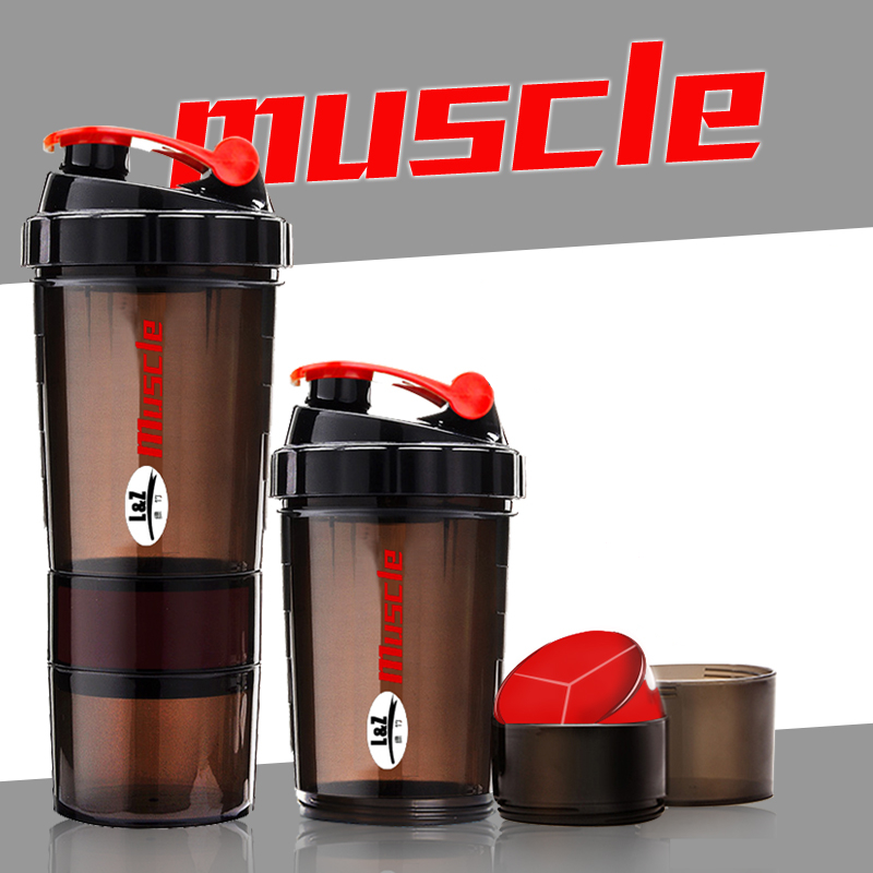 2016 Hot New Protein powder shaker bottle fitness Mixer Cup Sports Fitness gym 3 Layers special