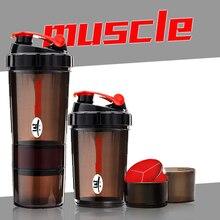 2016 heiße Neue Protein pulver shaker fitness Mixer Cup sport Fitness-studio 3 Schichten spezielle whey protein shaker milch shaker