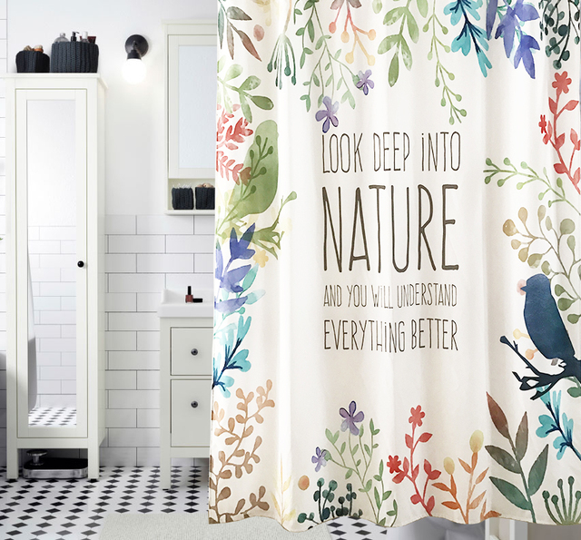 LOOK UP IN TO NATURE Shower Curtain Waterproof Mildewproof Polyester Fabric Bath Bathroom Product With