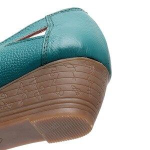 Image 5 - OUKAHUI אמיתי עור אלגנטי סנדלי נשים קיץ נעלי להחליק על סקסי פיפ הולו גבירותיי סנדלי טריזי 4cm כיסוי העקב 43