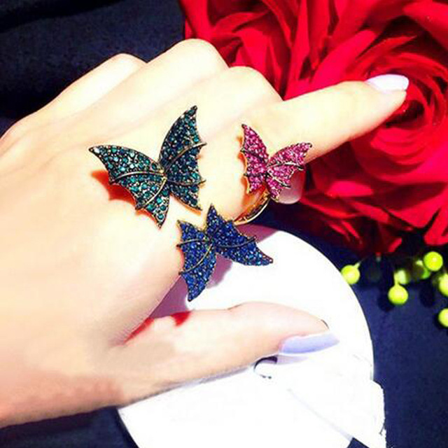 2016 Korean version of the European and American butterfly colorful crystal ring