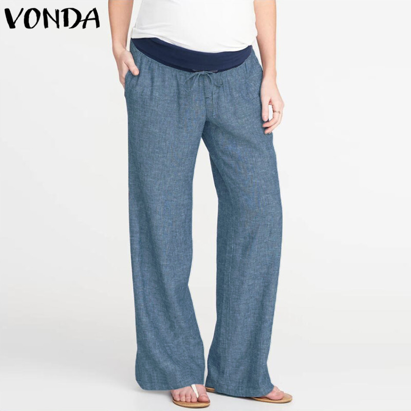 Women Causal   Wide     Leg     Pants   2019 Summer Autumn Loose Elastic Waist Splicing Trousers Pockets Plus Size Bottoms S-5XL Oversized