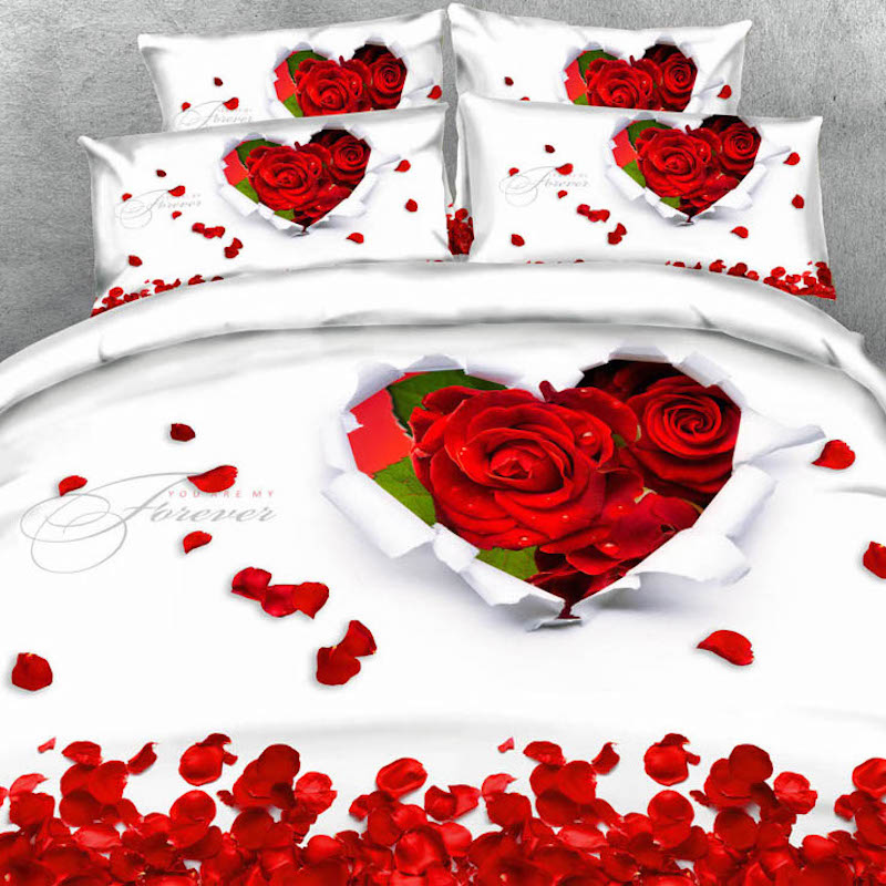 Royal Linen Source Brand 6 Parts Per Set Romantic Red Roses and Love - Home Textile