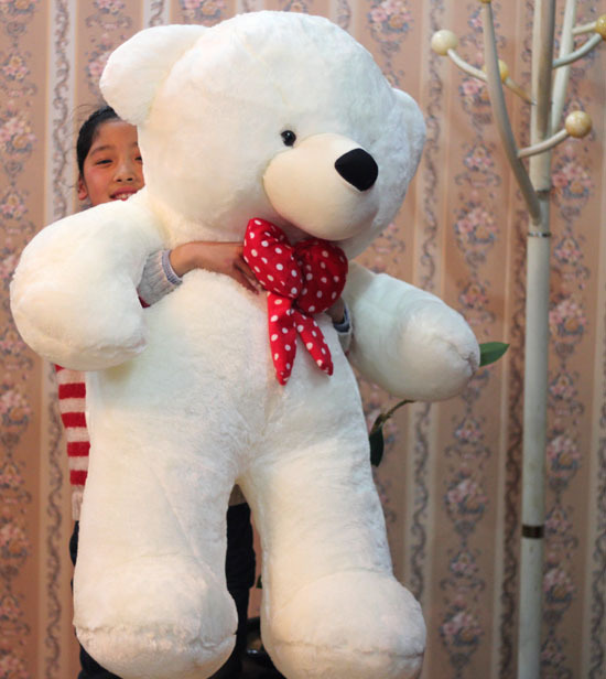 huge lovely plush teddy bear toy big stuffed white teddy bear with red bow gift about 120cm huge lovely plush teddy bear toy with blue heart and bow creative bear doll gift about 120cm