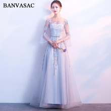 BANVASAC 2018 A Line Lace Embroidery Open Back Long Evening Dresses Party O Neck Flare Half Sleeve Bow Sash Prom Gowns pinkwin blue xxxl