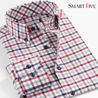 100 Cotton New Camisas Men Shirt Casual Plaid Long Sleeve Mens Dress Shirts Plus Size